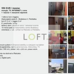Ponúkame Vám na prenájom veľmi pekný 1 izbový byt Bratislava-Petržalka, Zadunajská cesta.Byt sa nachádza na 6.poschodí z 8. Má rozlohu 47,2m2 plus ...