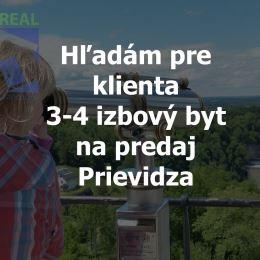 Realitný maklér Vlastimil Besedaa realitná kancelária BV REAL hľadá pre konkrétneho klienta na predaj 3 alebo 4 izbový byt v Prievidzi.Môže byť ...