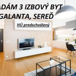 TUreality hľadá 3 izbový byt v lokalite GALANTA, SEREĎ pre konkrétnu klientku. HÚ má predschválený. Preferuje vyššie podlažie, balkón/loggia, výťah - ...